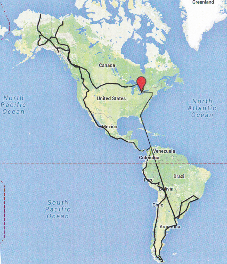 Route through the Americas