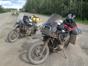 Bikes caked with mud