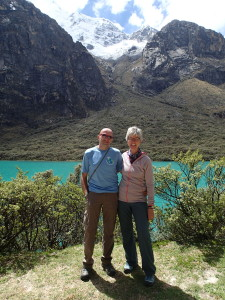 Laguna llanganuco in front of Mount Huascaran