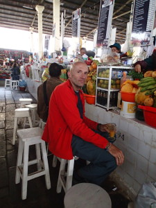 Enjoying a fresh juice at the Cusco Market