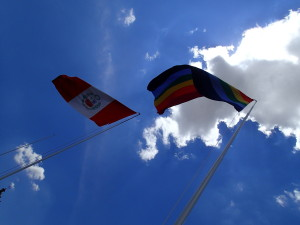 Peruvian and Inca Flags at the Plaza de Armas