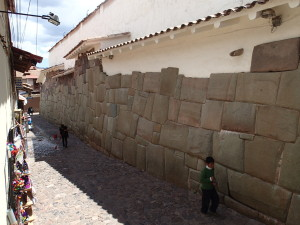 Old Spanish buildings with the foundations of the Inca buildings