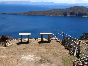View over Lake Titicaca from the island