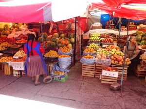 Colorful display at the Market in Sucre