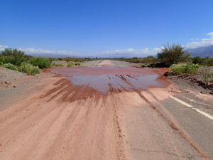 Red muddy rivers running over the Ruta 40