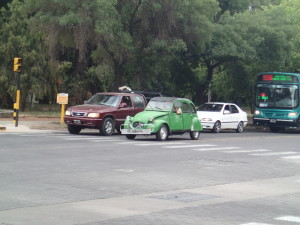 Lots of old french cars on the road in Mendoza