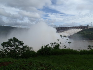 Gigantic overflow from the Itaipu damn, Capacity is bigger than the flow of Niagara Falls